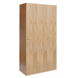 "Hallowell All-Wood Club Locker, 36""W x 18""D x 72""H, Natural Red Oak with Clear Finish, Single Tier, 3-Wide"