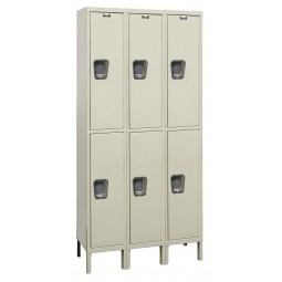 "Hallowell Maintenance-Free Quiet (MFQ) Locker, 36""W x 18""D x 78""H, 729 Parchment, Double Tier, 3-Wide"