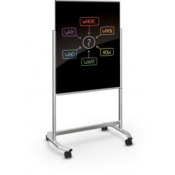 Best-Rite 74950B Visionary Move Mobile Black Magnetic Glassboard - 3x4