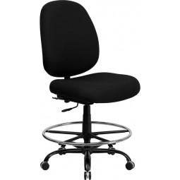 Signature Series 400 lb. Capacity Big and Tall Fabric Drafting Stool with Extra WIDE Seat - Optional Arms Available