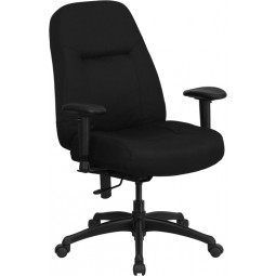 Signature Series 400 lb. Capacity High Back Big & Tall Office Chair with Height Adjustable Arms and Extra WIDE Seat - Black Fabric
