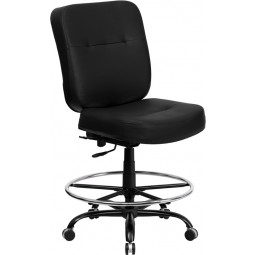 Signature Series 400 lb. Capacity Big & Tall Black Drafting Stool with Extra WIDE Seat - Optional Arms Available