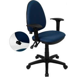 Mid-Back Fabric Multi-Functional Task Chair with Arms and Adjustable Lumbar Support - 3 Color Options