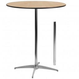Round Wood Cocktail Tables with 30'' and 42'' Columns - 3 Sizes Available