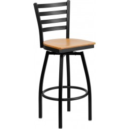 Signature Series Black Ladder Back Swivel Metal Bar Stool - 5 Seat Options