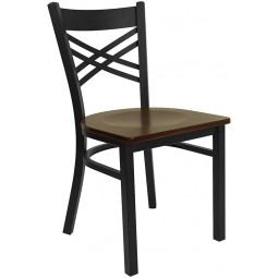 Signature Series Black ''X'' Back Metal Restaurant Chair - Seat - 4 Seat Options
