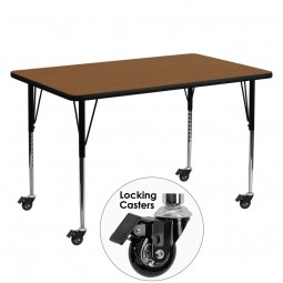 Mobile 30''W x 60''L Rectangular Activity Tables - 4 Colors Available