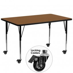 Mobile 30''W x 72''L Rectangular Activity Tables - 4 Colors Available