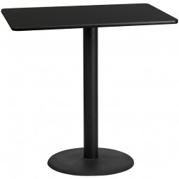 Square and Rectangular Black Laminate Table Top with Round Bar Height Table Bases - Multiple Sizes Available