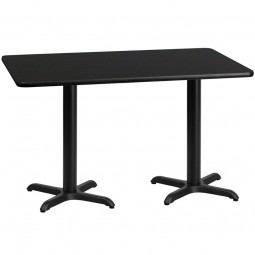 Square and Rectangular Black Laminate Table Tops with Table Height X-Bases - Multiple Sizes Available