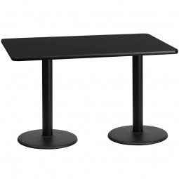 Square and Rectangular Black Laminate Table Tops with Round Table Height Bases - Multiple Sizes Available