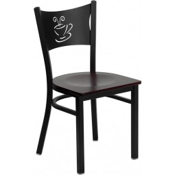 Signature Series Black Coffee Back Metal Restaurant Chair - 4 Seat Options