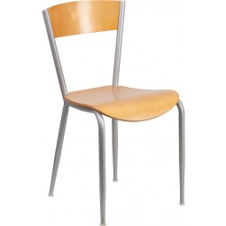 Invincible Series Metal Restaurant Chair - Natural Wood Back & Seat