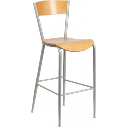 Invincible Series Metal Restaurant Barstool - Natural Wood Back & Seat