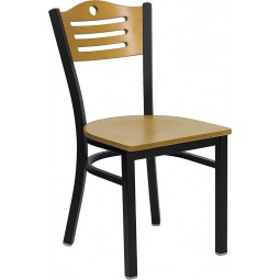 Signature Series Black Slat Back Metal Restaurant Chair - Natural Wood Back - 3 Seat Options