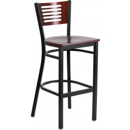 Signature Series Black Decorative Slat Back Metal Restaurant Barstool - Mahogany Wood Back - 3 Seat Options