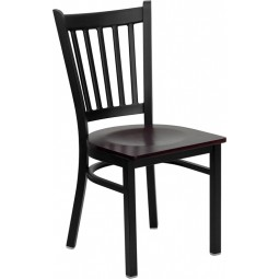 Signature Series Black Vertical Back Metal Restaurant Chair - 4 Seat Options
