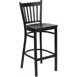 Signature Series Black Vertical Back Metal Restaurant Bar Stool - 4 Seat Options