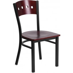 Signature Series Black Decorative 4 Square Back Metal Restaurant Chair - Mahogany Wood - 3 Seat Options