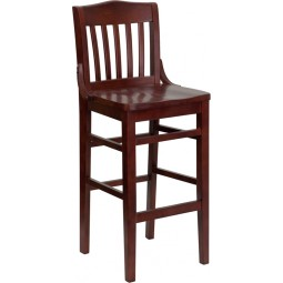 Signature Series Mahogany Finished School House Back Wooden Restaurant Bar Stool