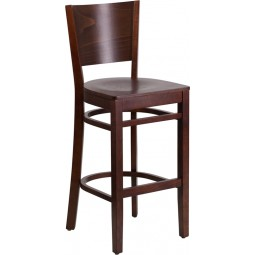 Lacey Series Solid Back Walnut Wooden Restaurant Barstool - 3 Seat Options