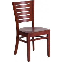 Darby Series Slat Back Mahogany Wooden Restaurant Chair - 3 Seat Options
