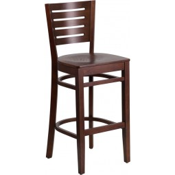Darby Series Slat Back Walnut Wooden Restaurant Barstool - 3 Seat Options