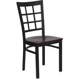 Signature Series Black Window Back Metal Restaurant Chair - 4 Seat Options