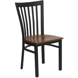 Signature Series Black School House Back Metal Restaurant Chair - Cherry Wood Seat