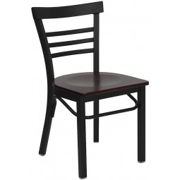 Signature Series Black Ladder Back Metal Restaurant Chair - 4 Seat Options