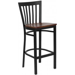 Signature Series Black School House Back Metal Restaurant Bar Stool - 3 Seat Options