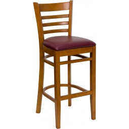 Signature Series Cherry Finished Ladder Back Wooden Restaurant Bar Stool - 3 Seat Options