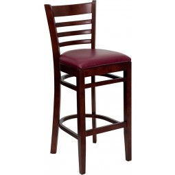 Signature Series Mahogany Finished Ladder Back Wooden Restaurant Bar Stool - 3 Seat Options