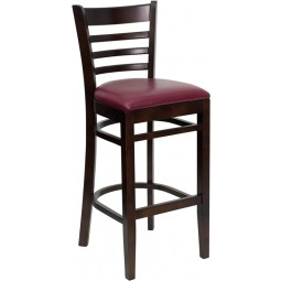 Signature Series Walnut Finished Ladder Back Wooden Restaurant Bar Stool - 3 Seat Options