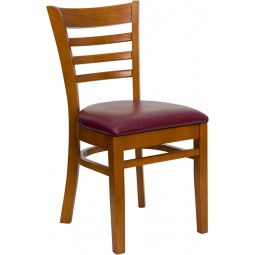 Signature Series Cherry Finished Ladder Back Wooden Restaurant Chair - 3 Seat Options