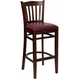 Signature Series Mahogany Finished Vertical Slat Back Wooden Restaurant Bar Stool - 3 Seat Options