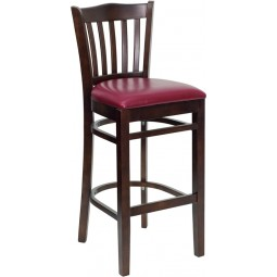 Signature Series Walnut Finished Vertical Slat Back Wooden Restaurant Bar Stool - 3 Seat Options