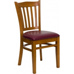Signature Series Cherry Finished Vertical Slat Back Wooden Restaurant Chair - 3 Seat Options