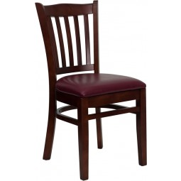 Signature Series Mahogany Finished Vertical Slat Back Wooden Restaurant Chair - 3 Seat Options