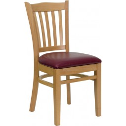 Signature Series Natural Wood Finished Vertical Slat Back Wooden Restaurant Chair - Burgundy Vinyl Seat