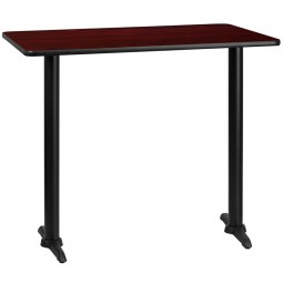 Rectangular Mahogany Laminate Table Top with 5'' x 22'' Bar Height Table Bases - 2 Sizes Available