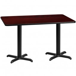 Square and Rectangular Mahogany Laminate Table Tops with Table Height X-Bases - Multiple Sizes Available