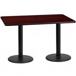 Square and Rectangular Mahogany Laminate Table Tops with Round Table Height Bases - Multiple Sizes Available