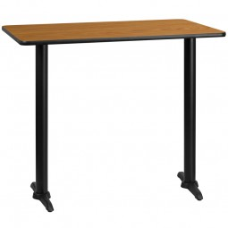 Rectangular Natural Laminate Table Top with 5'' x 22'' Bar Height Table Bases - 3 Sizes Available