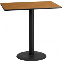 Square and Rectangular Natural Laminate Table Tops with Round Bar Height Table Bases - Multiple Sizes Available