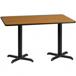 Rectangular Natural Laminate Table Top with Table Height X-Bases - Multiple Sizes Available