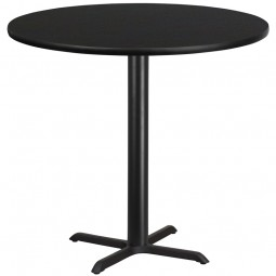 Round Black Laminate Table Top with Bar Height Table X-Base - 4 Sizes Available