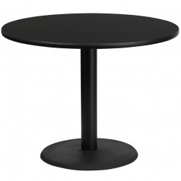 Round Black Laminate Table Top with Round Table Height Bases - 4 Sizes Available
