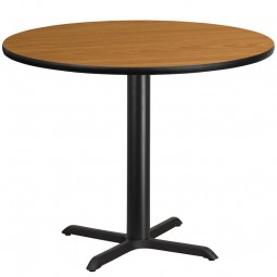 Round Natural Laminate Table Top with Table Height X-Base - 4 Sizes Available