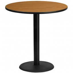 Round Natural Laminate Table Tops with Round Bar Height Table Bases - 4 Sizes Available